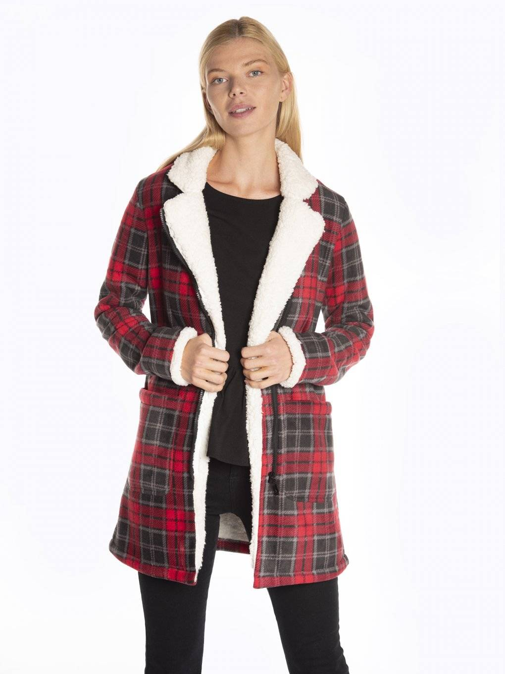 Plaid pile lined coat