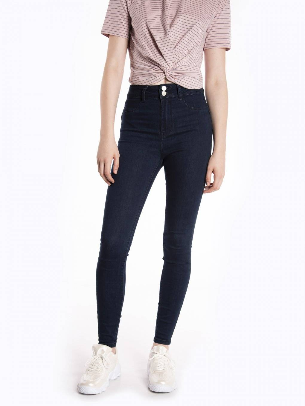 High waisted skinny jeans in dark blue wash
