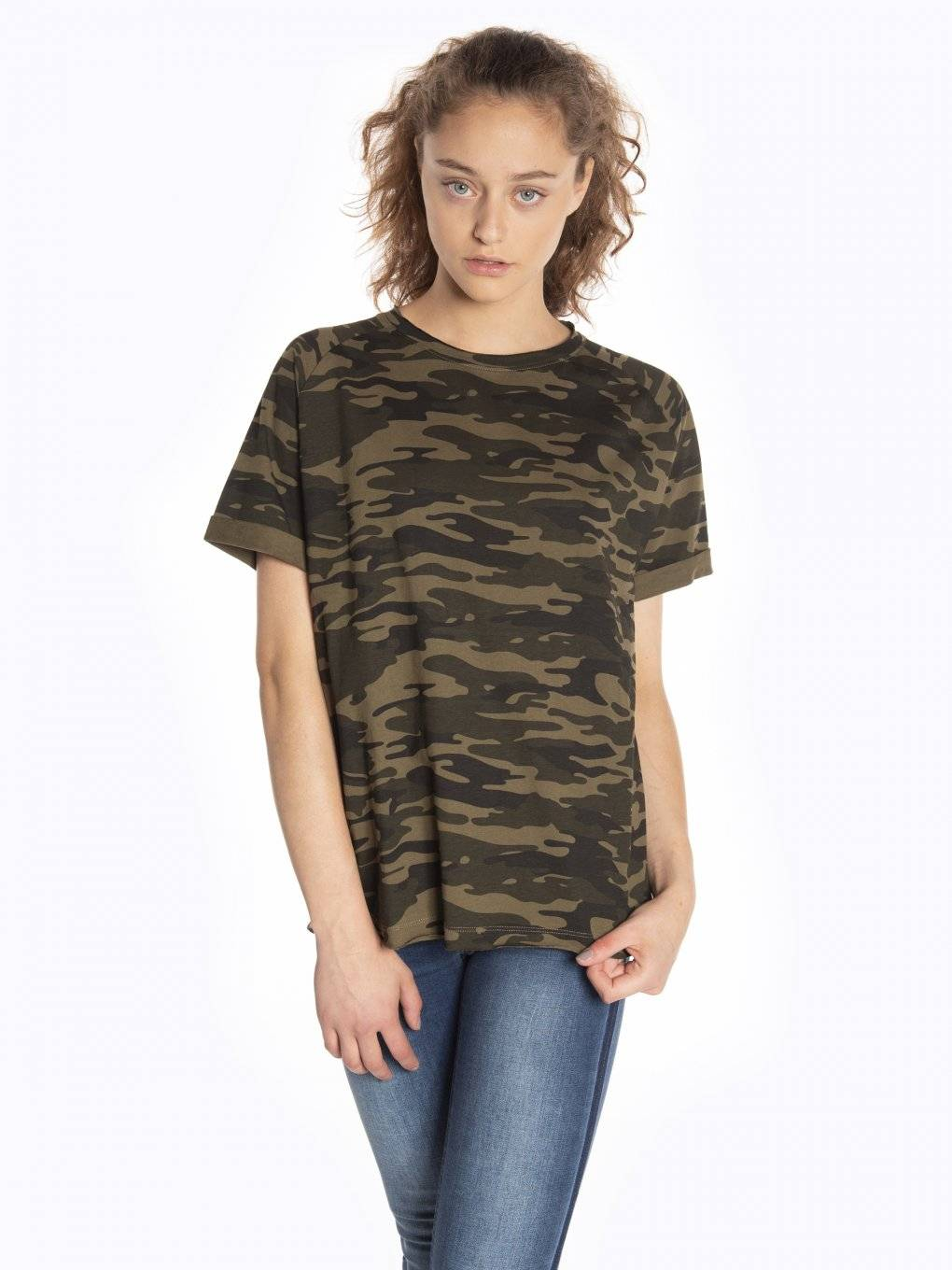 Camo print short sleeve t-shirt with raw edges