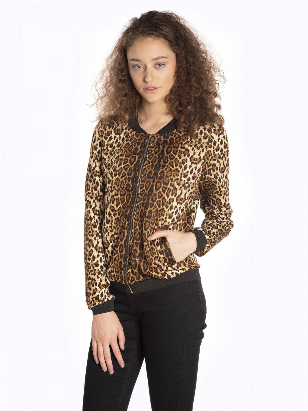 Animal print zip-up sweatshirt