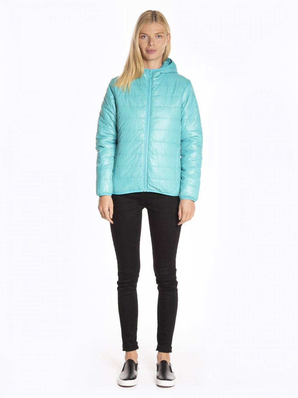 Basic quilted light padded packable jacket with hood