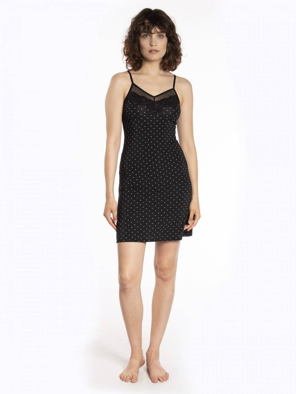 Polka dot print nightdress with lace