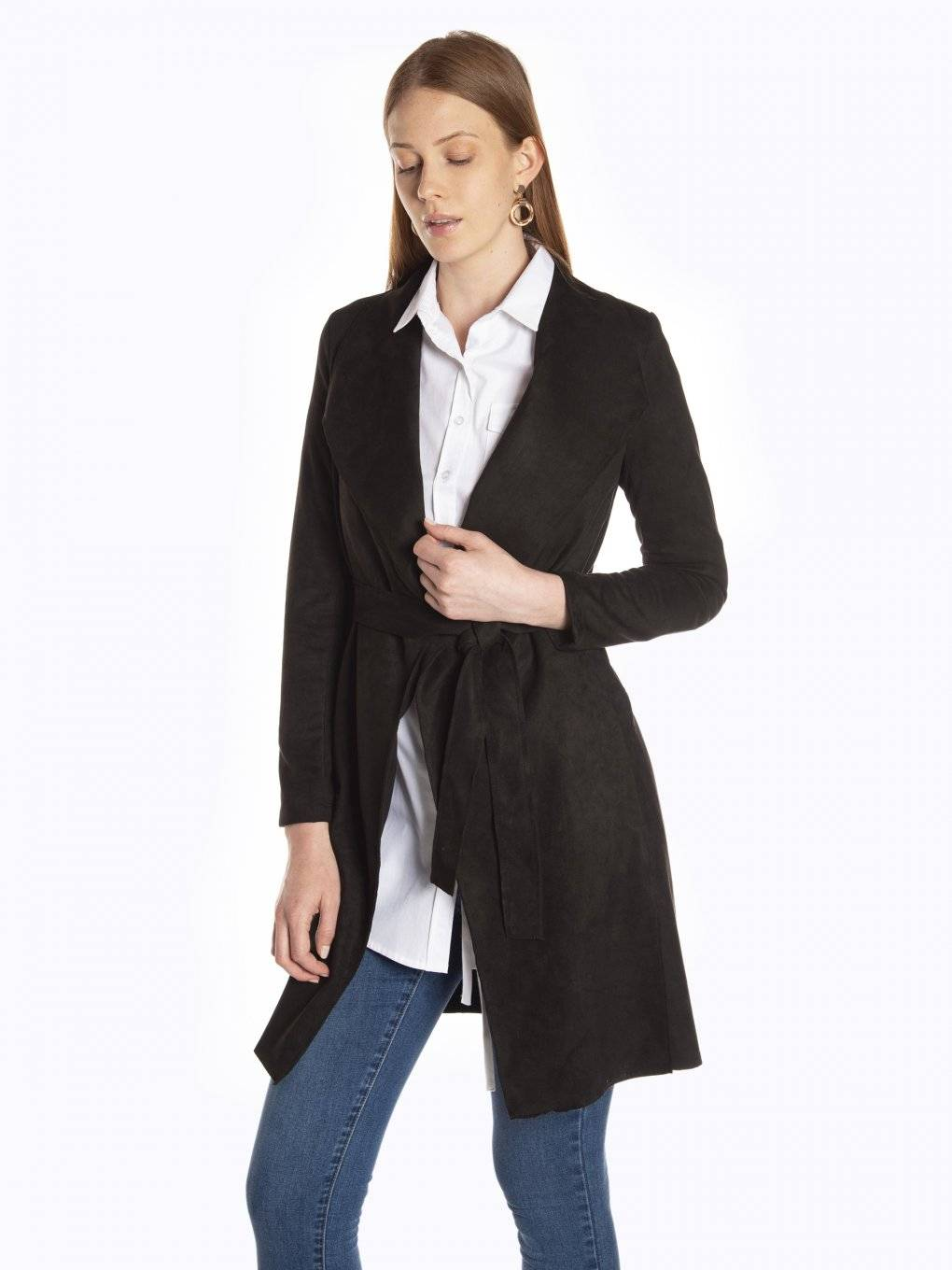 Faux suede belted robe coat
