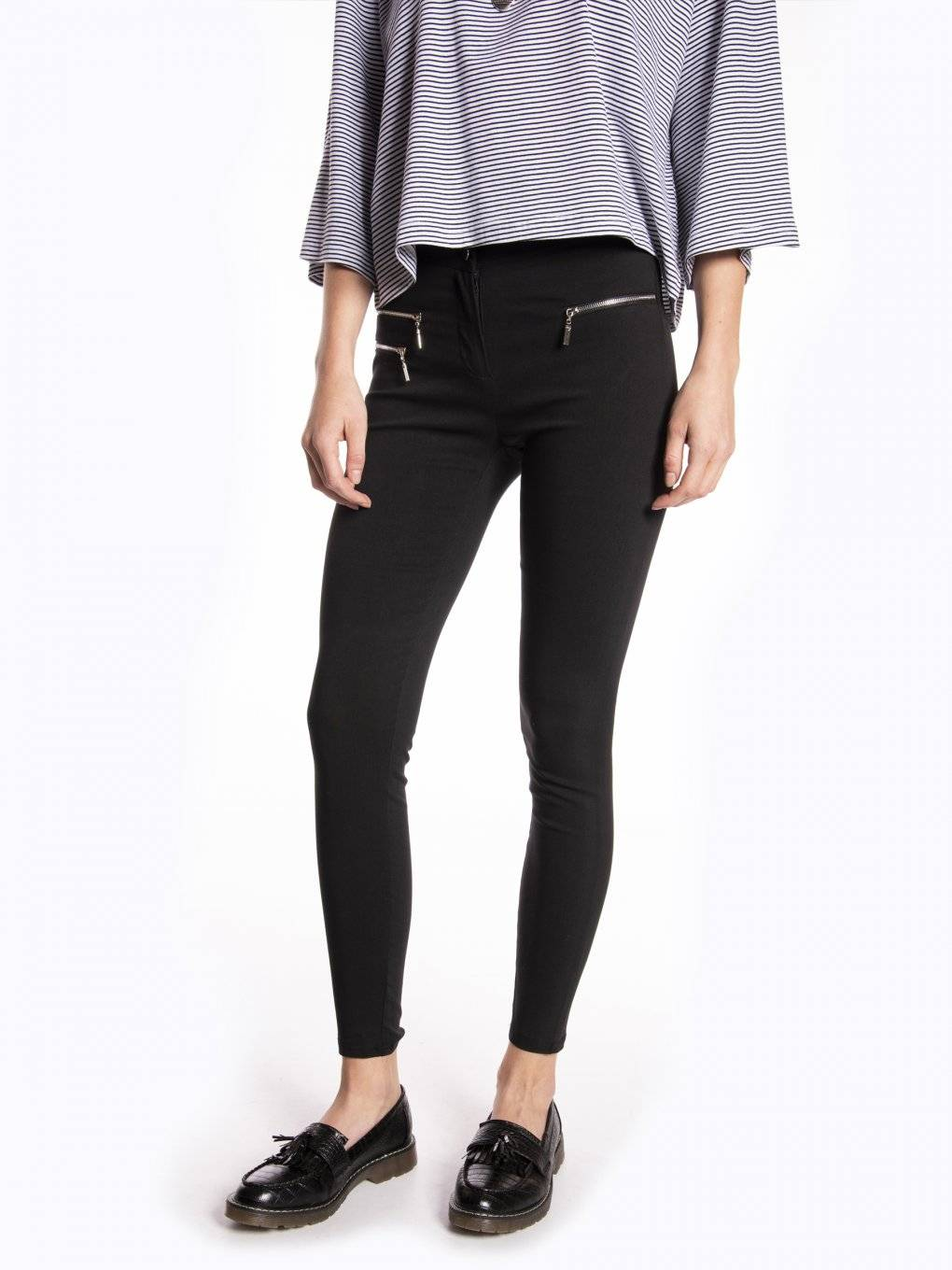Elastic skinny trousers with shinny zippers