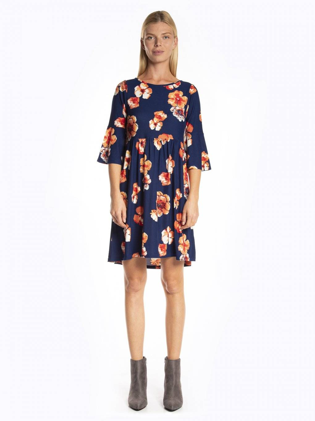 Floral print dress with bell sleeves
