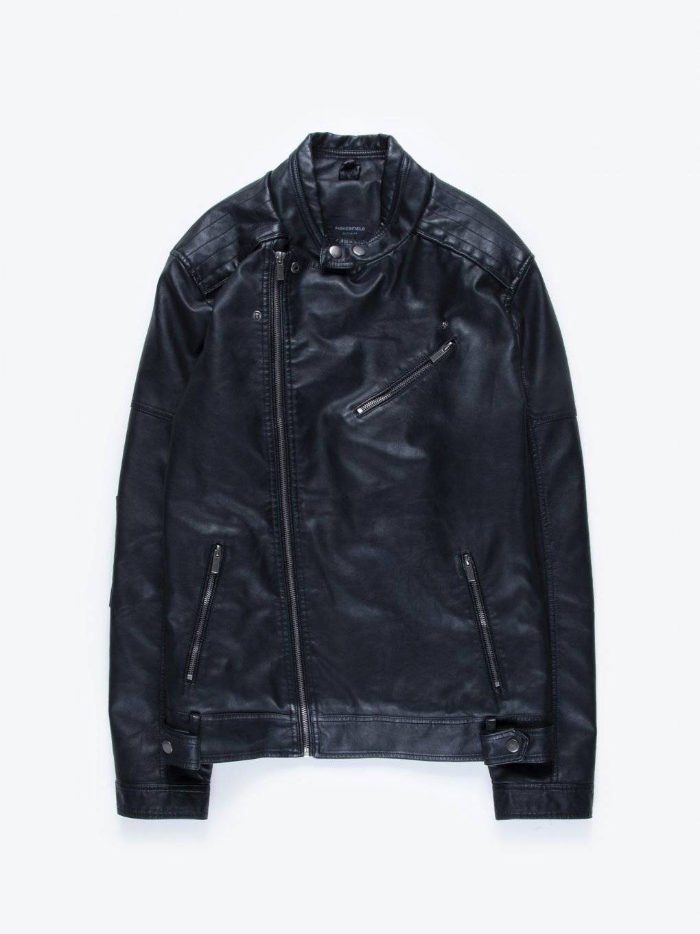 Biker jacket with asymmetric zipper
