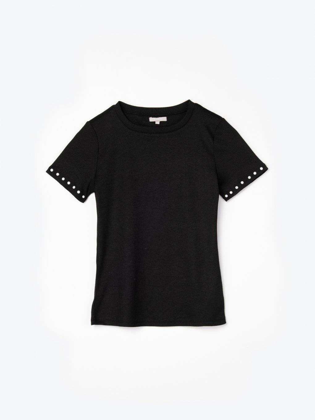 Ribbed t-shirt with pearls