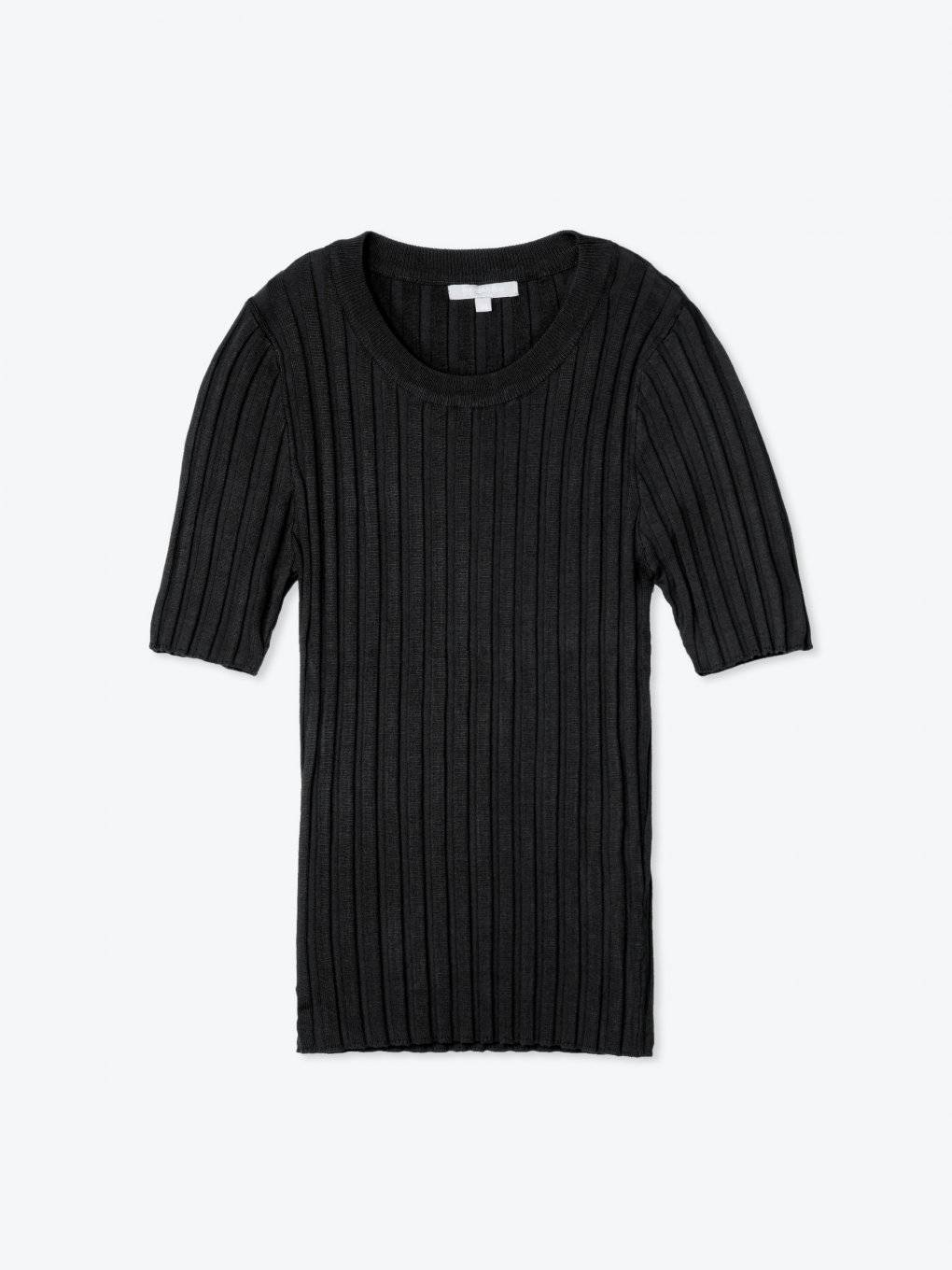 Ribbed short sleeve jumper