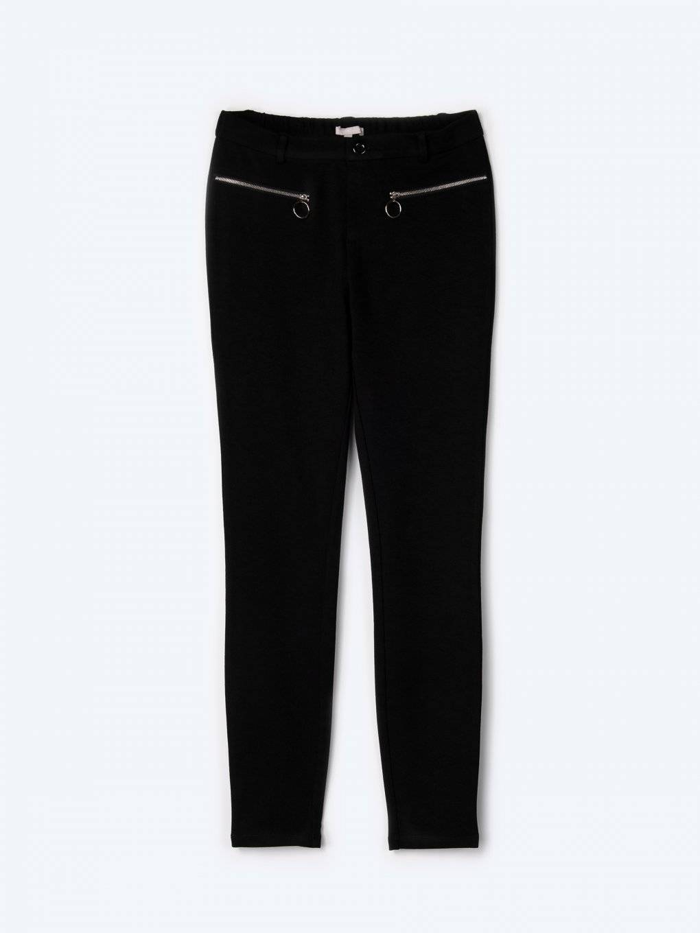 Slim trousers with decorative zippers