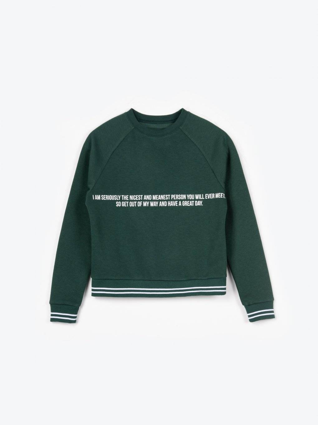 Sweatshirt with message print