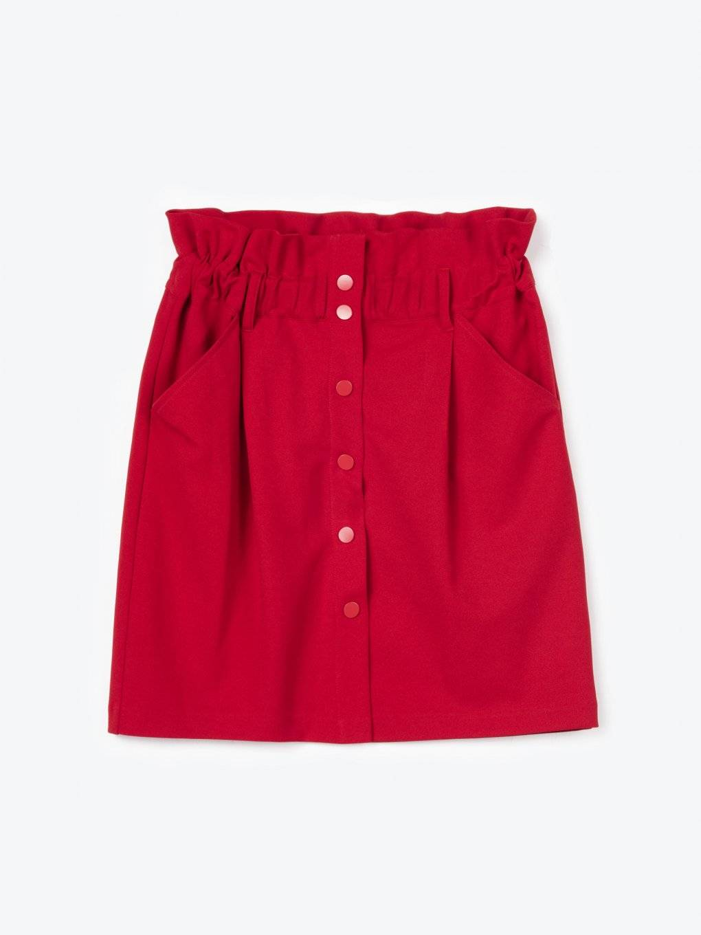 High-waisted button-down skirt