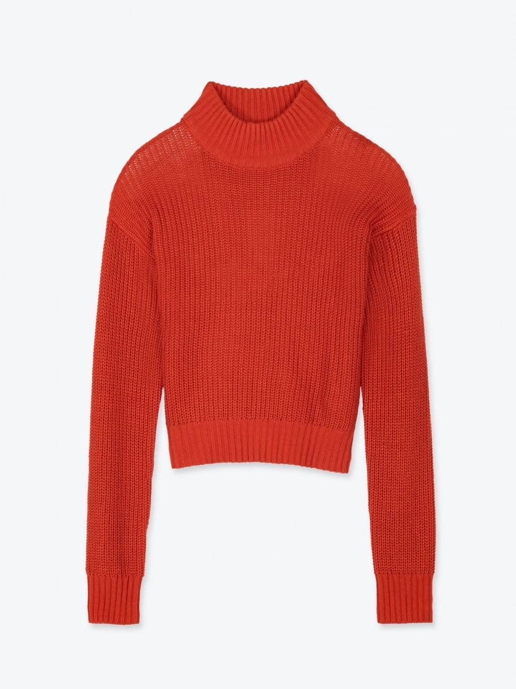 Cropped ribbed high collar pullover