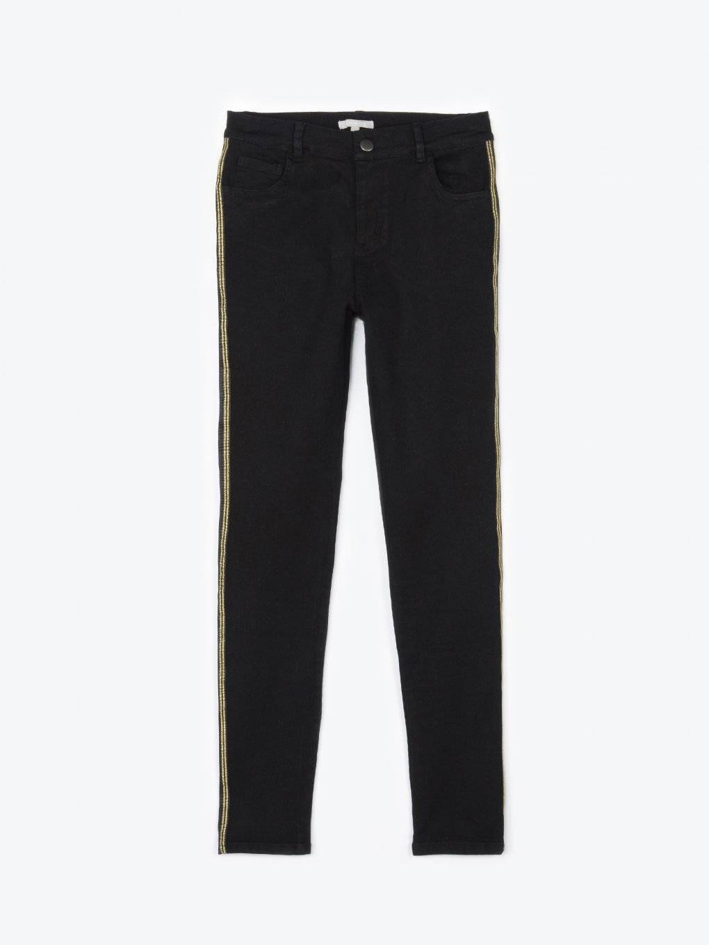 Skinny trousers with gold side tape