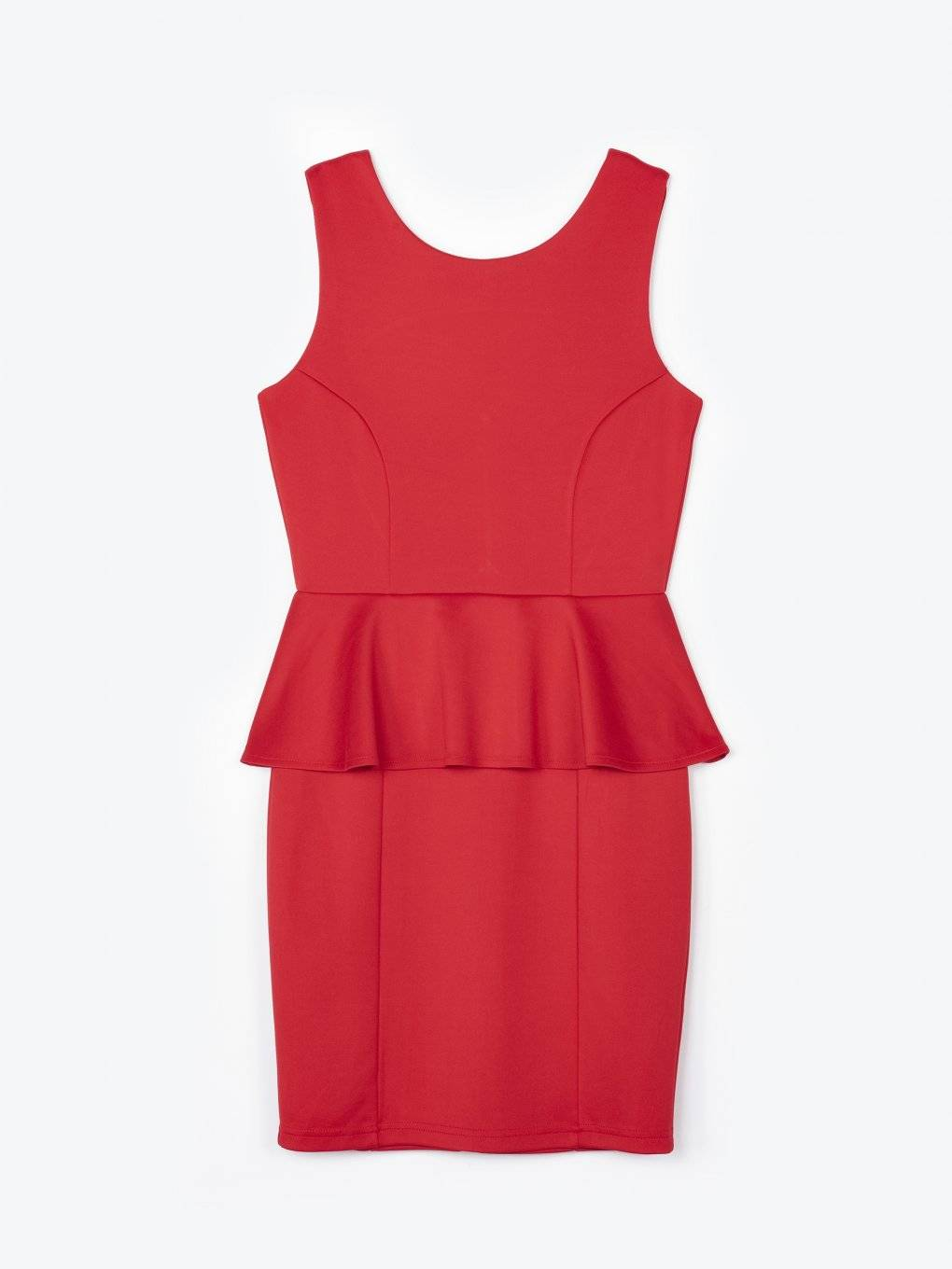 Sleeveles bodycon dress with ruffle