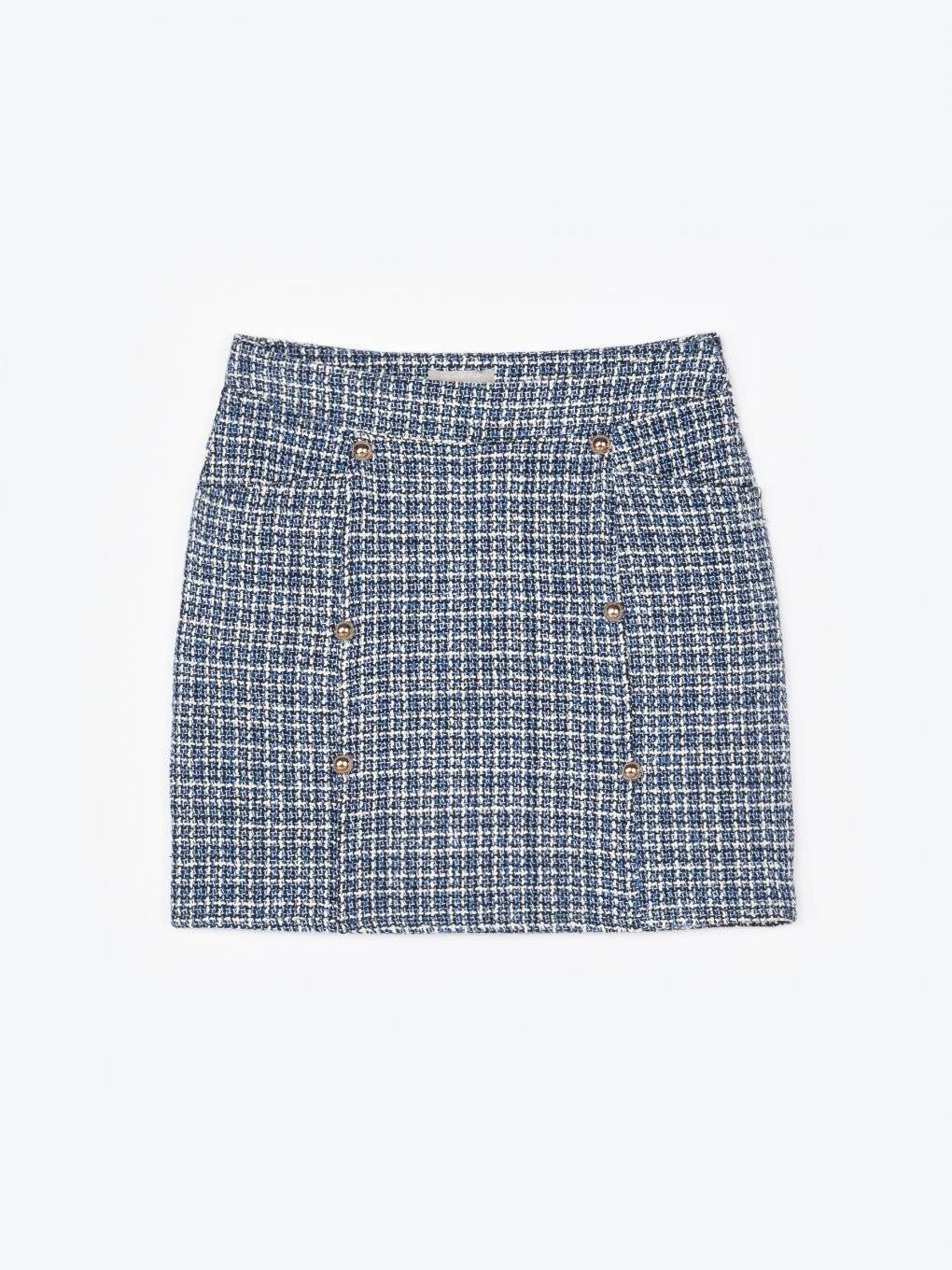 Jacquard mini skirt with decorative buttons