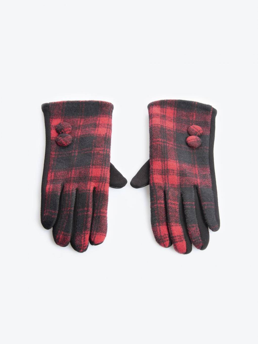 Plaid gloves with buttons