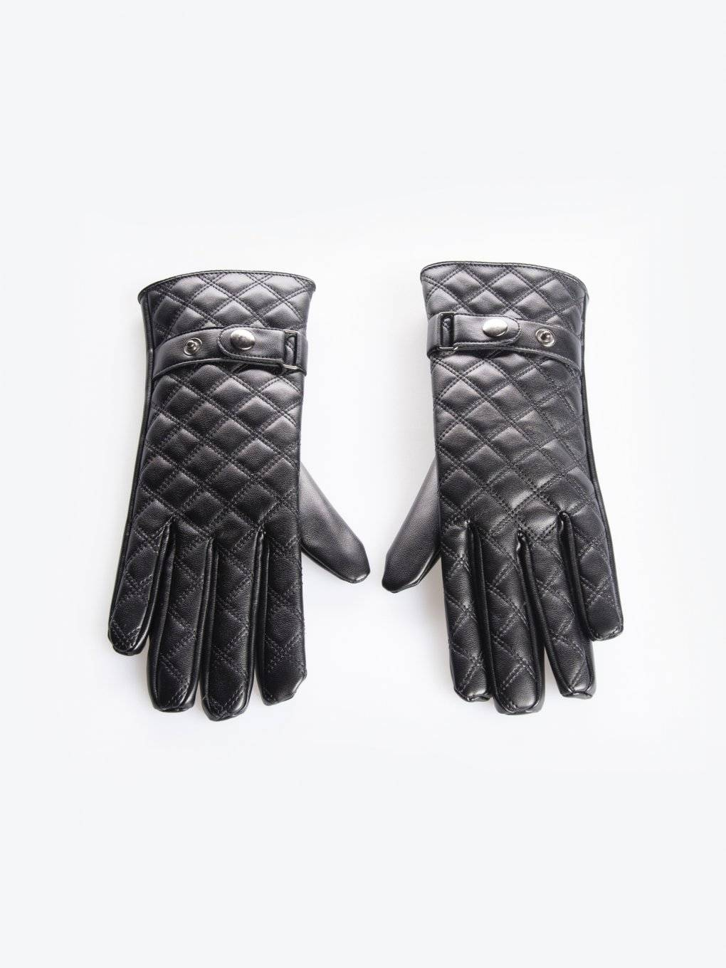 Quilted faux leather gloves