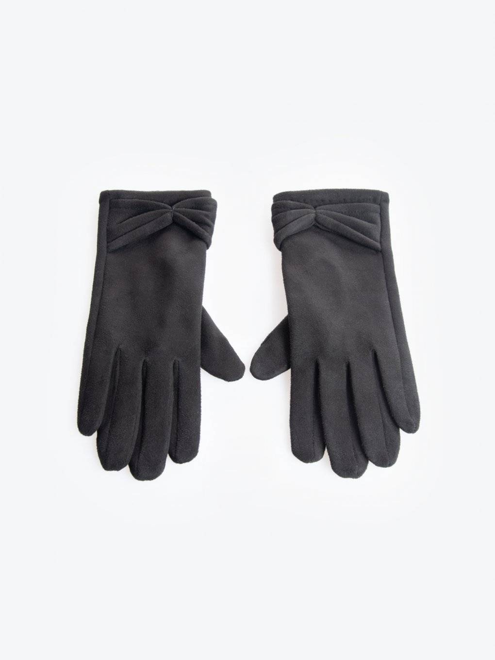 Gloves with bow detail