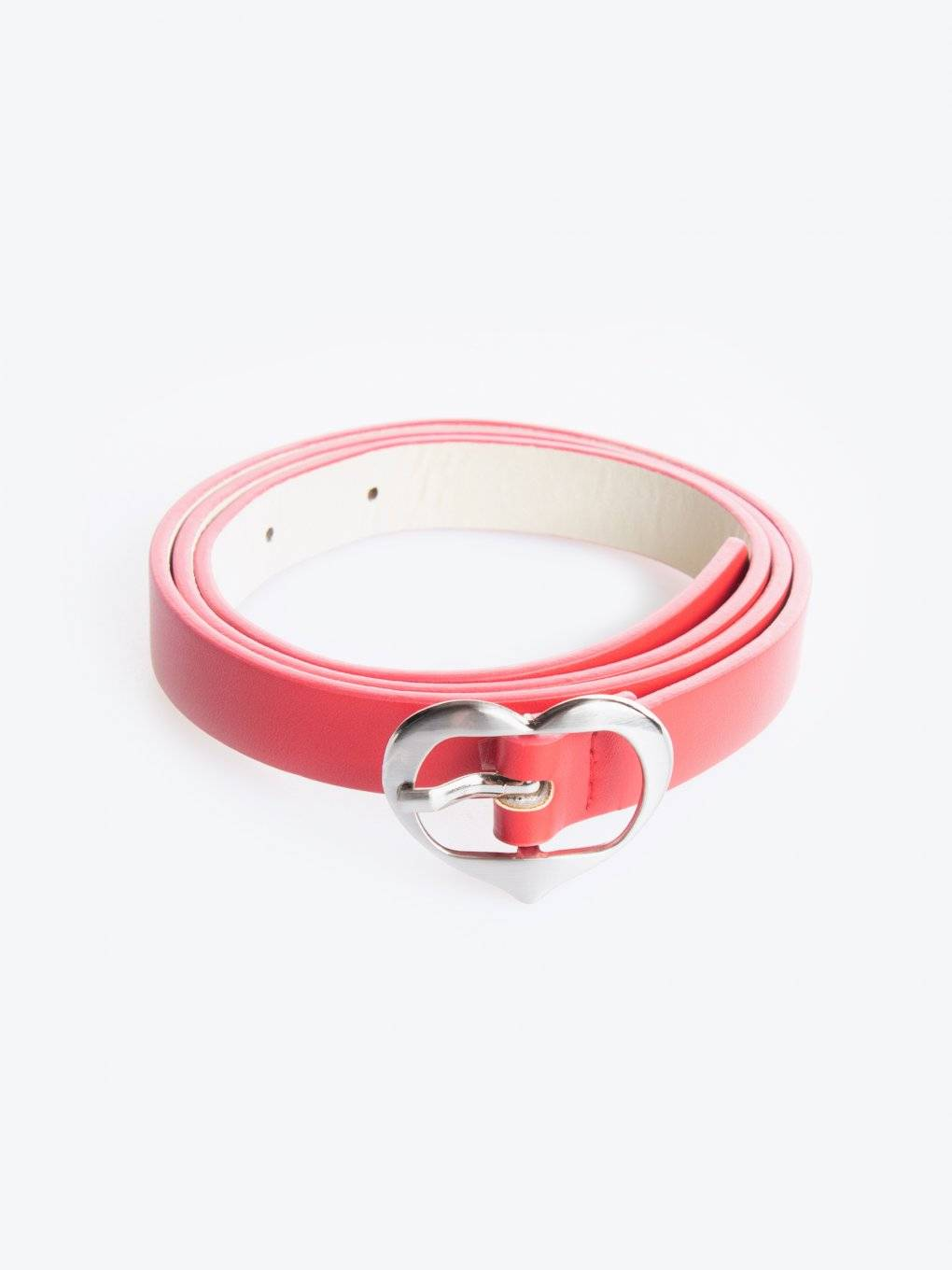 Faux leather belt with heart buckle