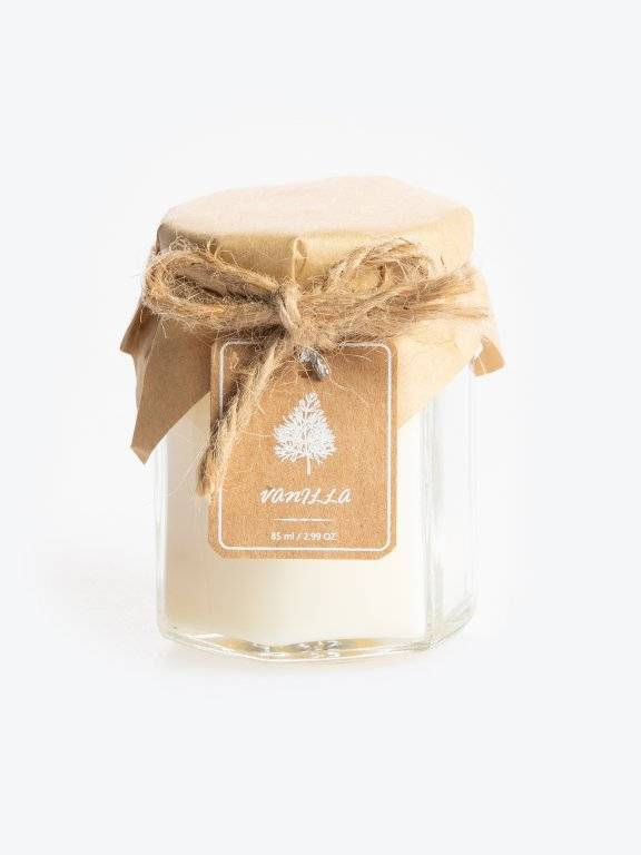 Vanilla scented candle in jar