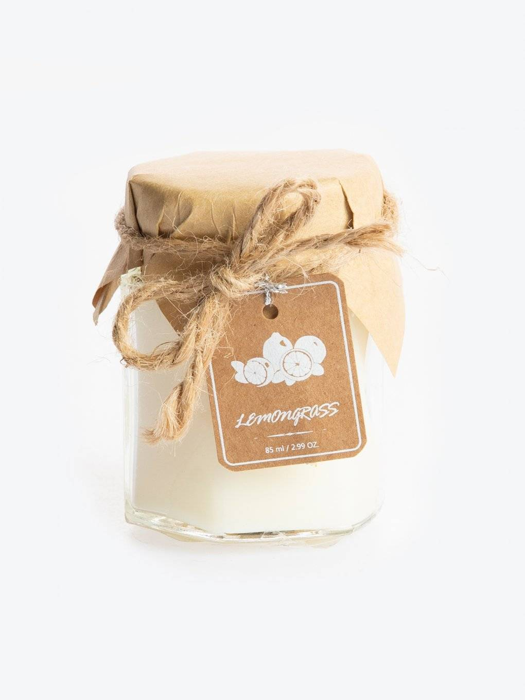Lemon grass scented candle in jar