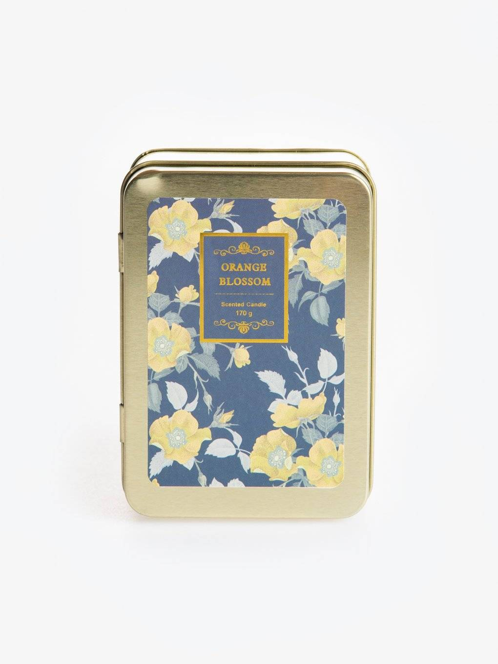 Orange blossom scented tin candle