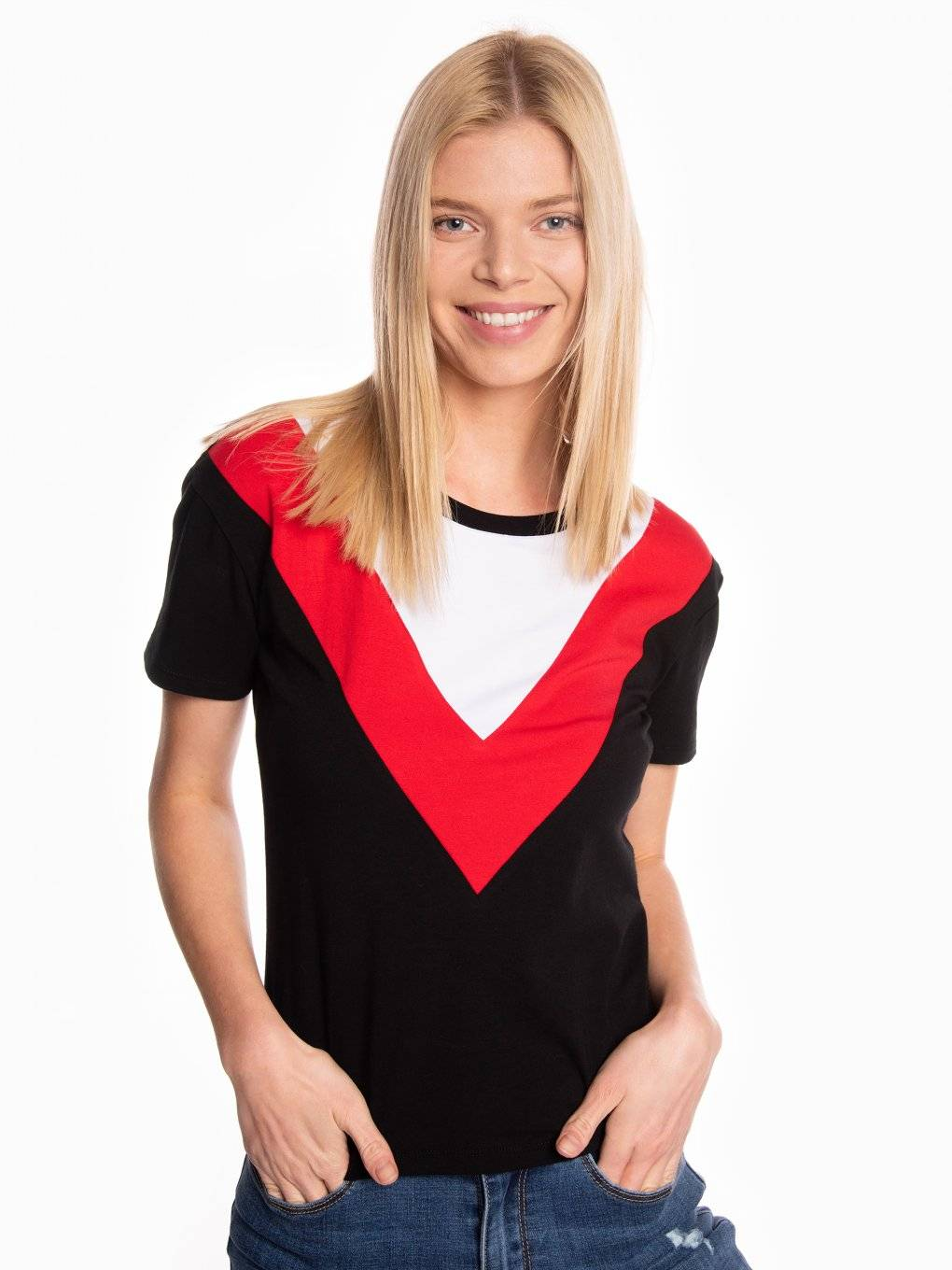 T-shirt with contrast panels