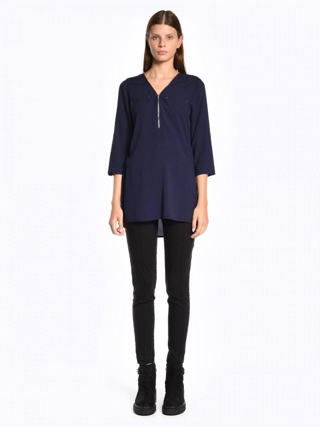 Longline viscose blouse with zipper