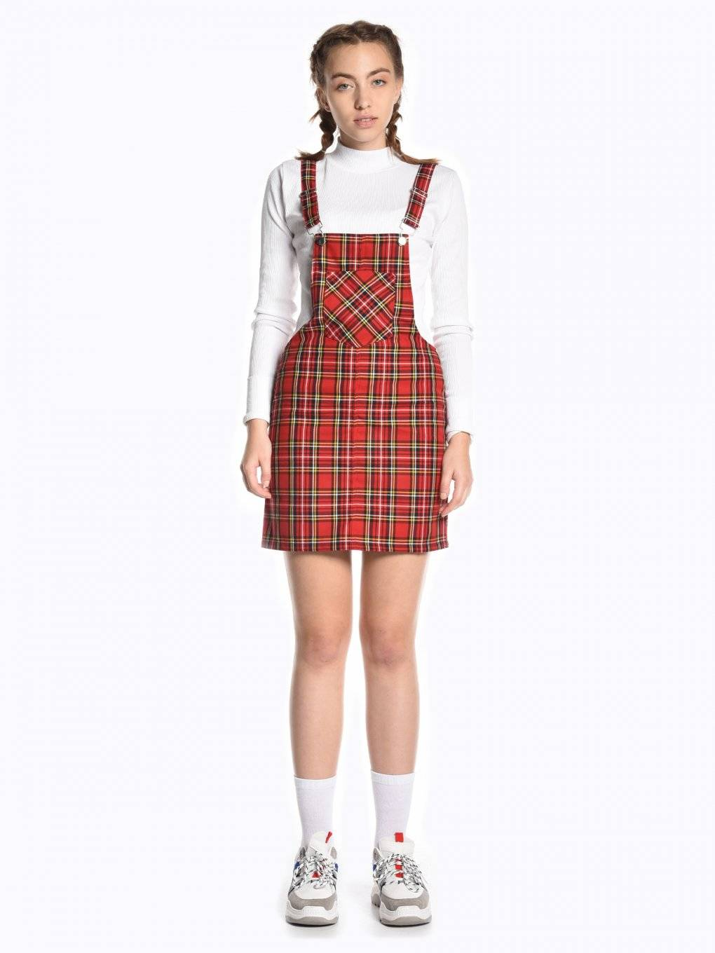 Plaid dungaree skirt with patch pocket