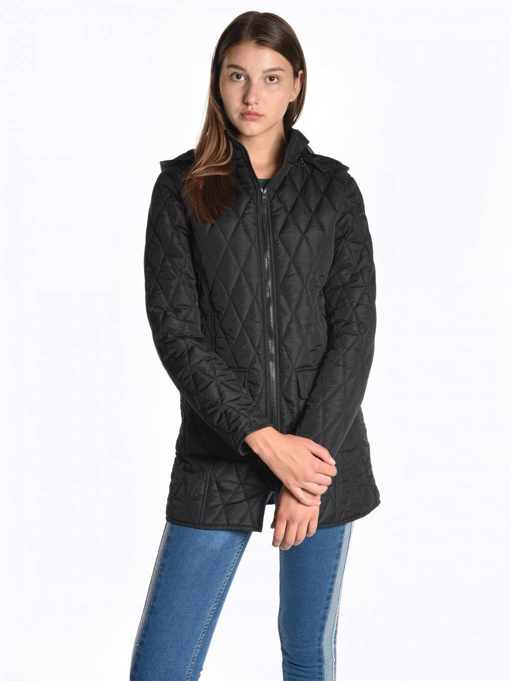 Longline light padded quilted jacket with removable hood