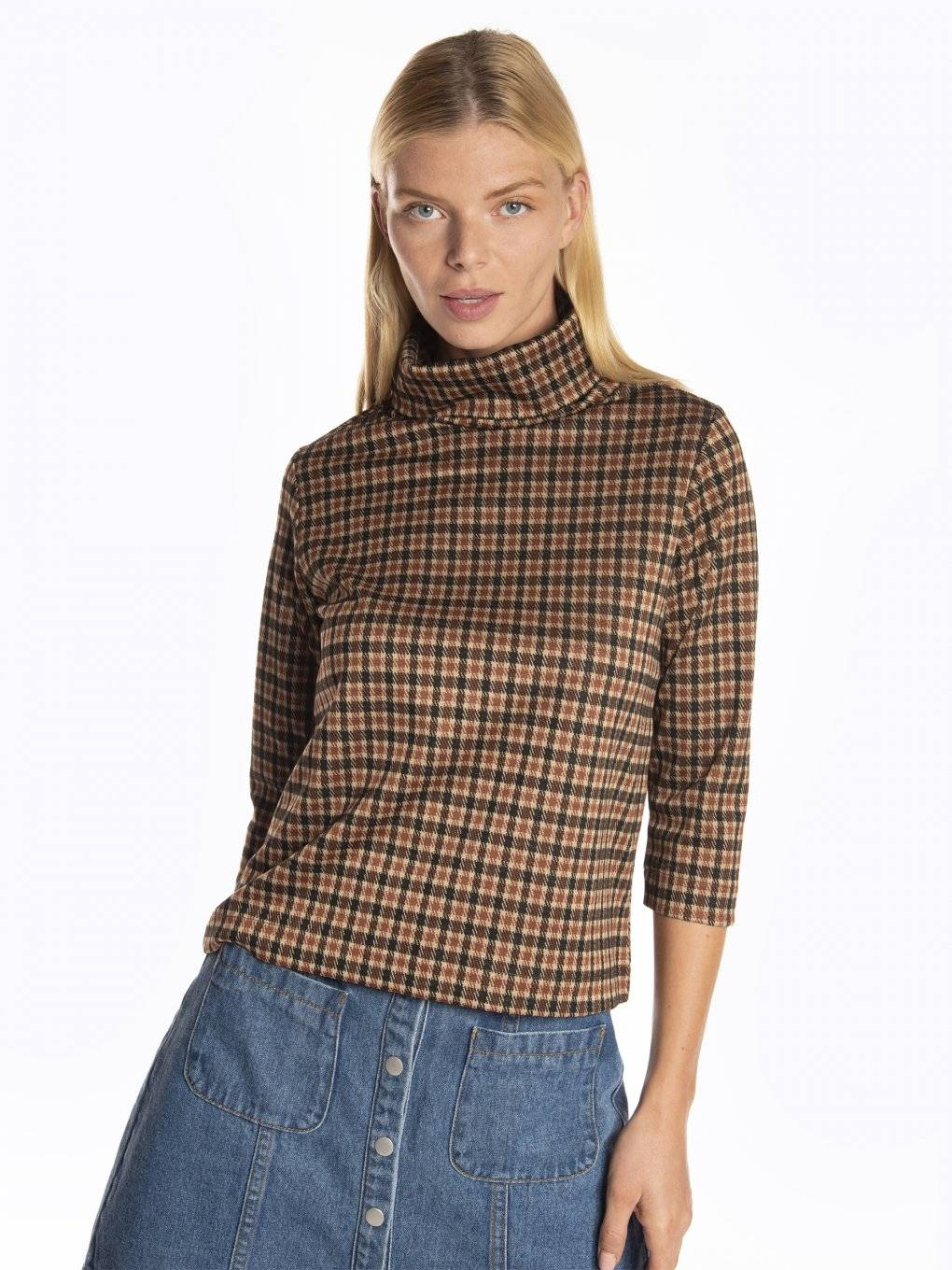 Jacquard roll neck 3/4 sleeve t-shirt