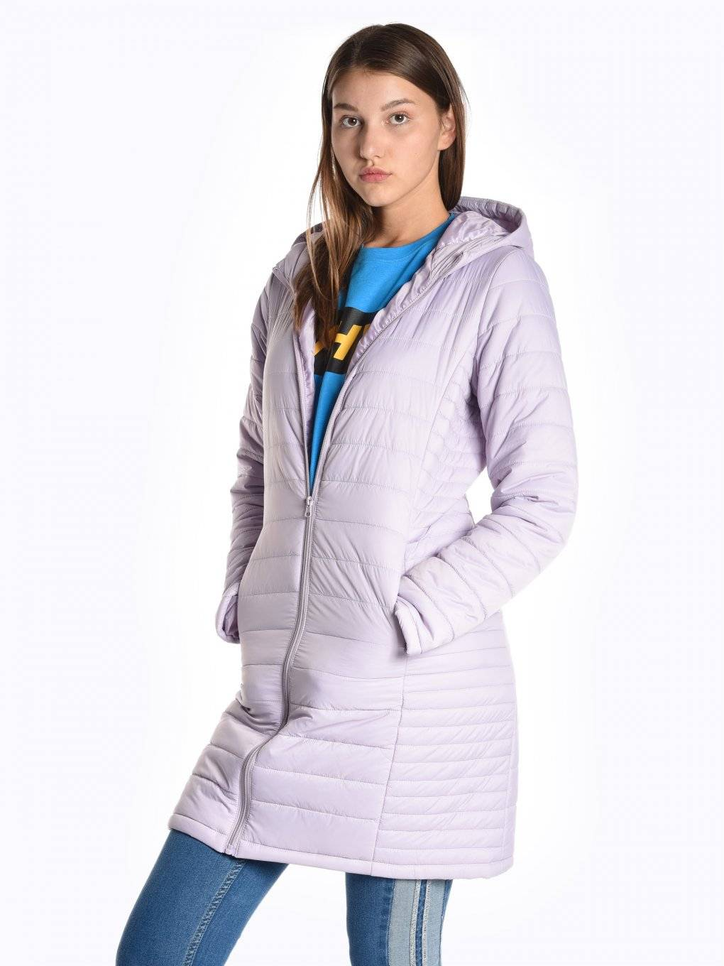 Longline basic quilted light padded packable jacket with hood