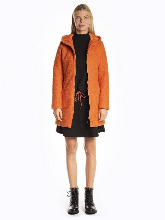 Faux shearling hooded zip-up coat