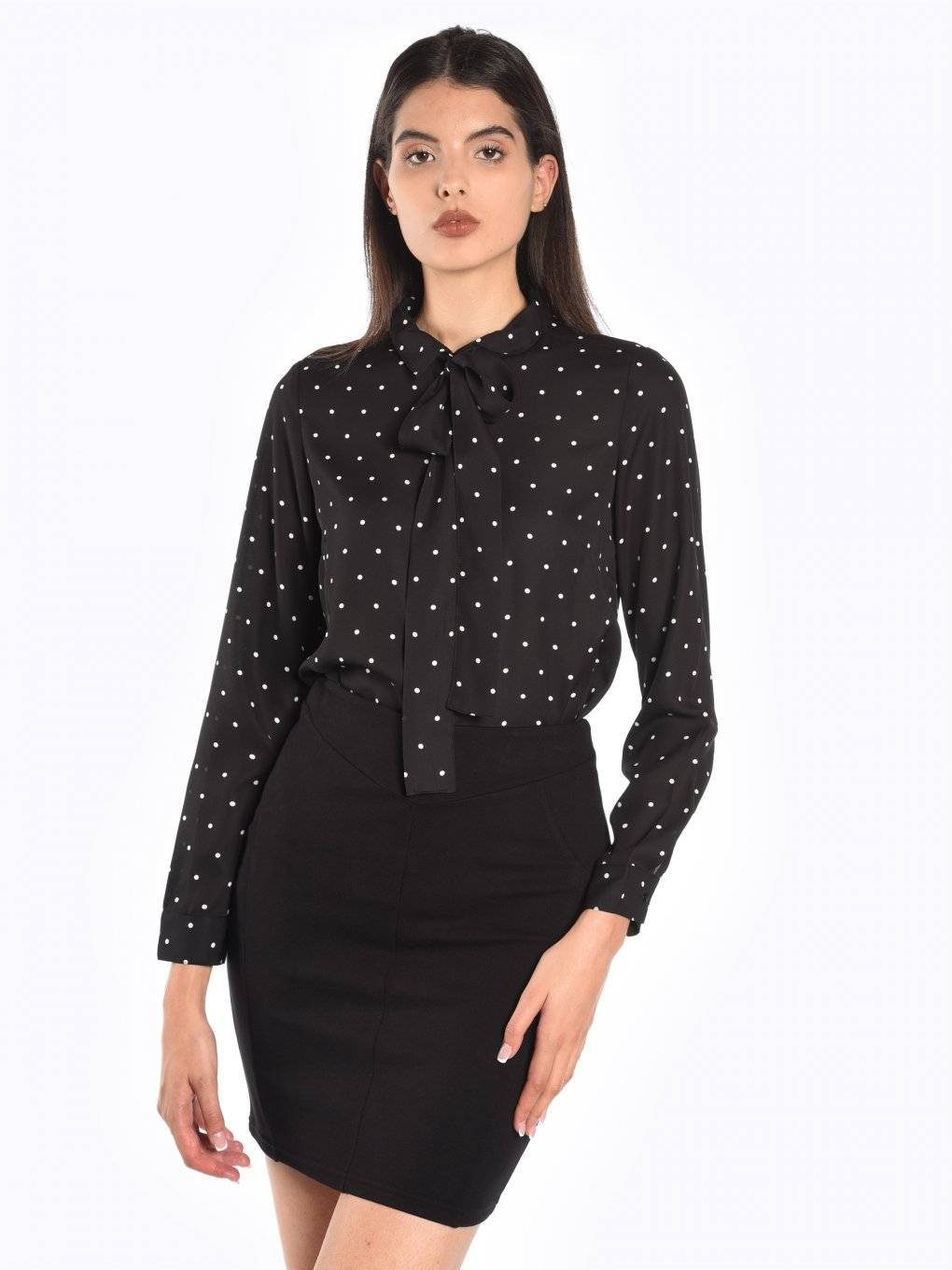 Polka dot print blouse with bow
