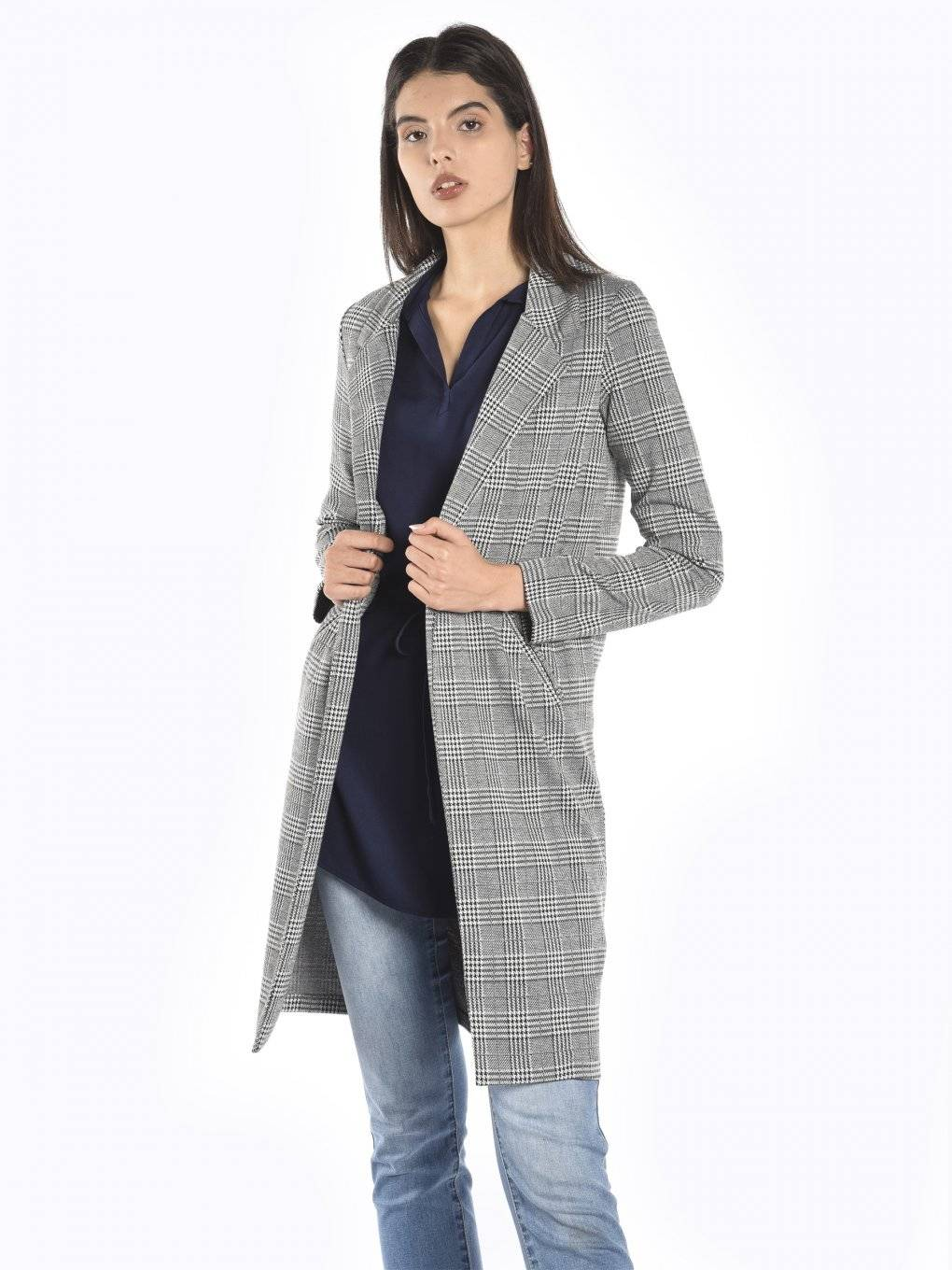 Longline plaid blazer