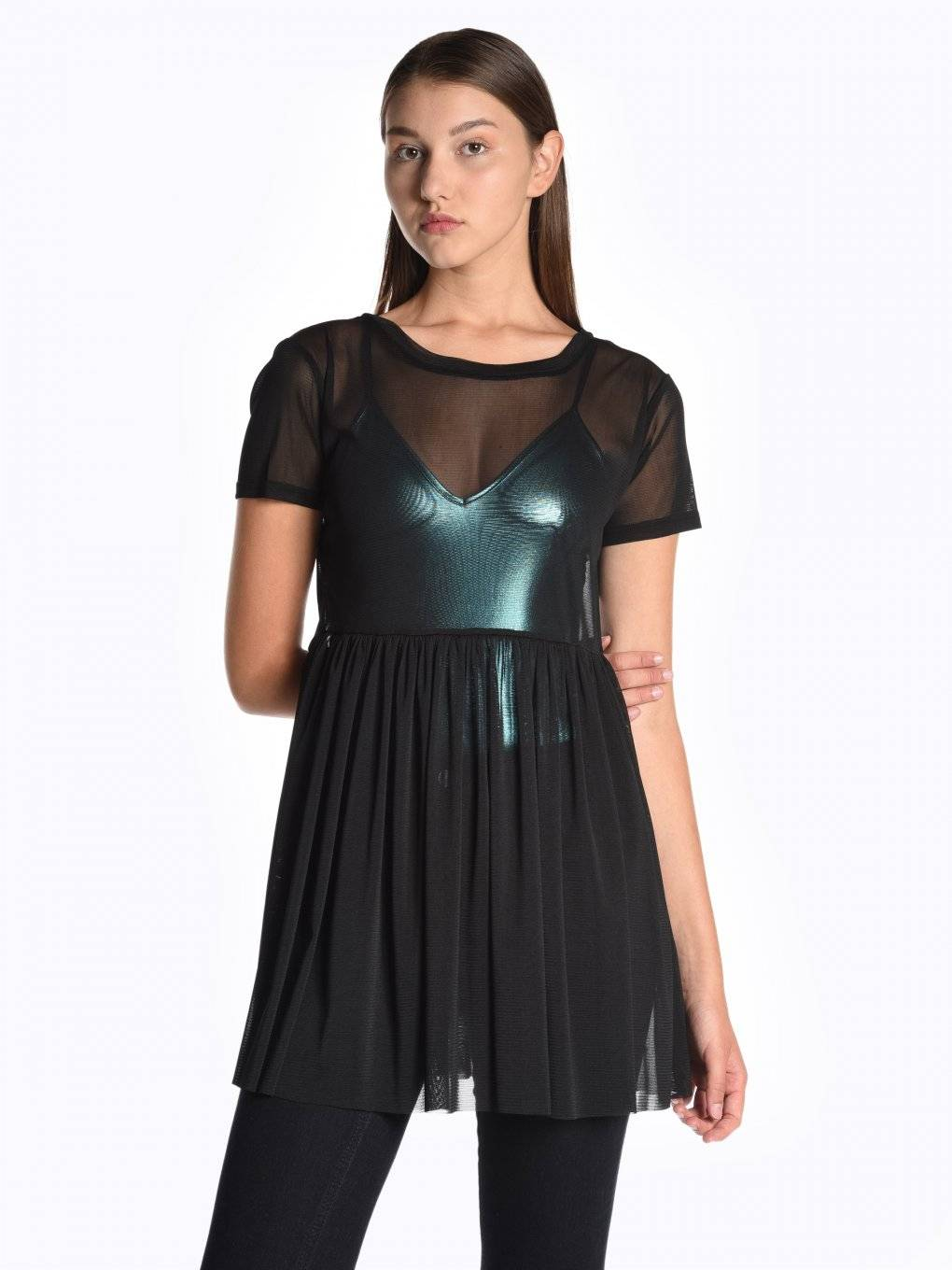 Longline mesh top with ruffle