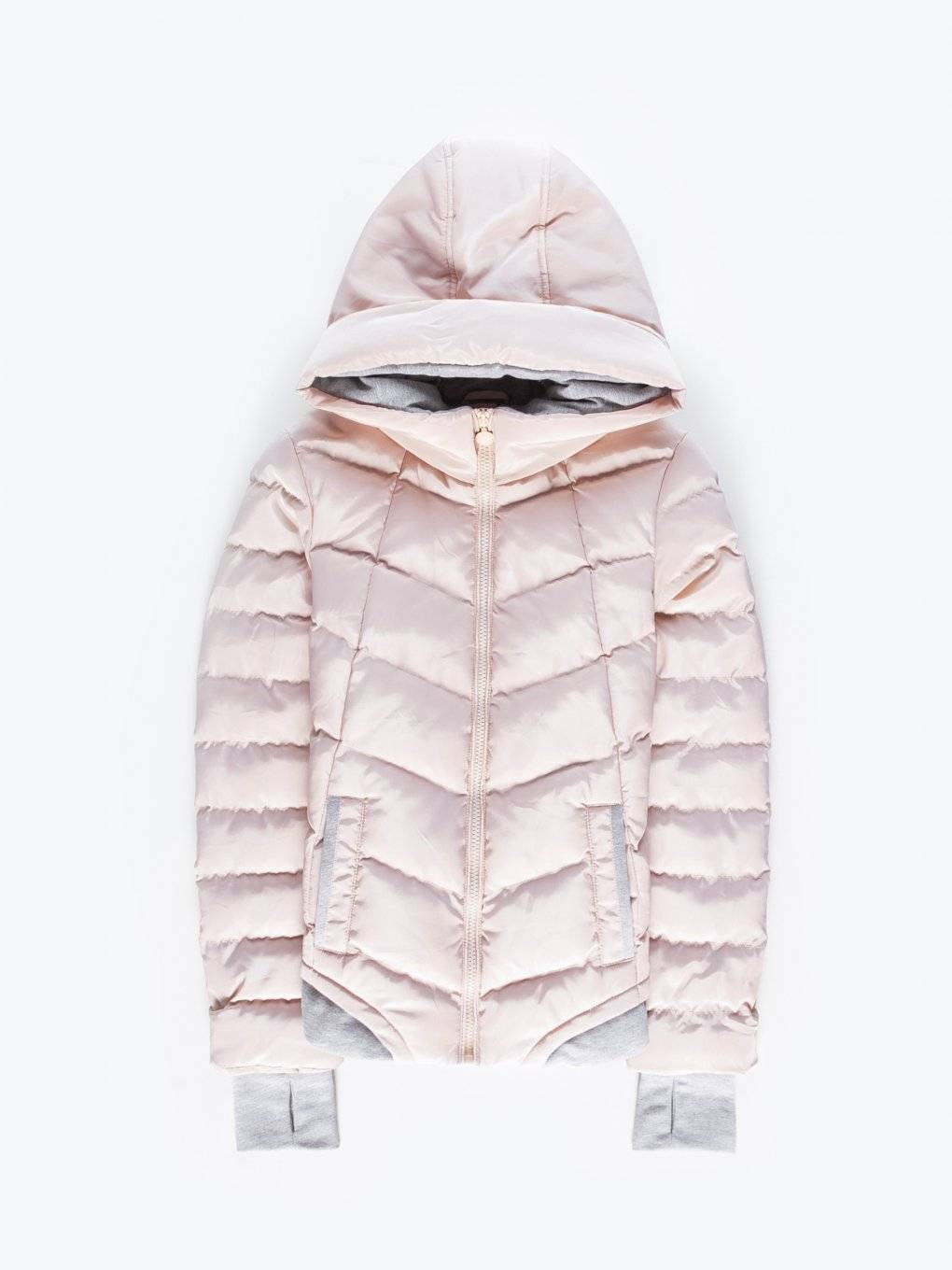 Combined quilted padded jacket with hood