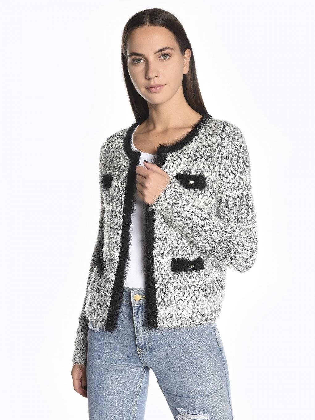 Fuzzy marled cardigan with decorative stones
