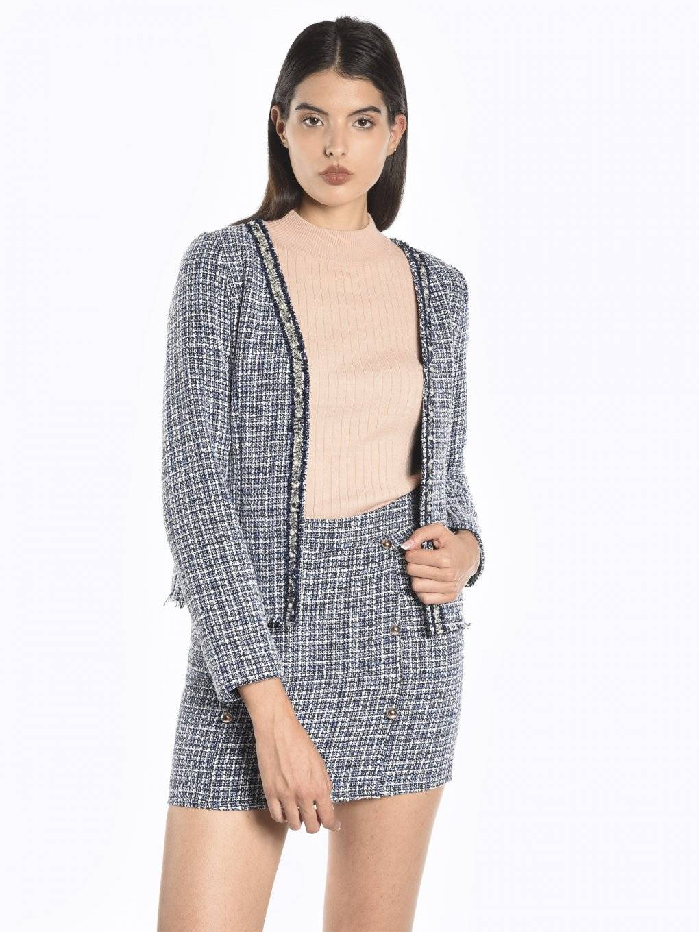 Jackquard blazer with pearls