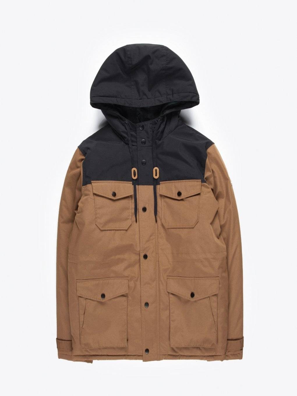Colour block padded parka with hood