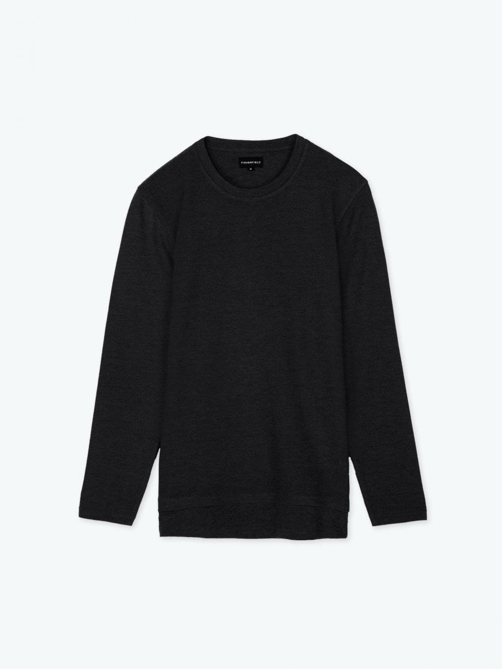 Structured t-shirt long sleeve with laered hem