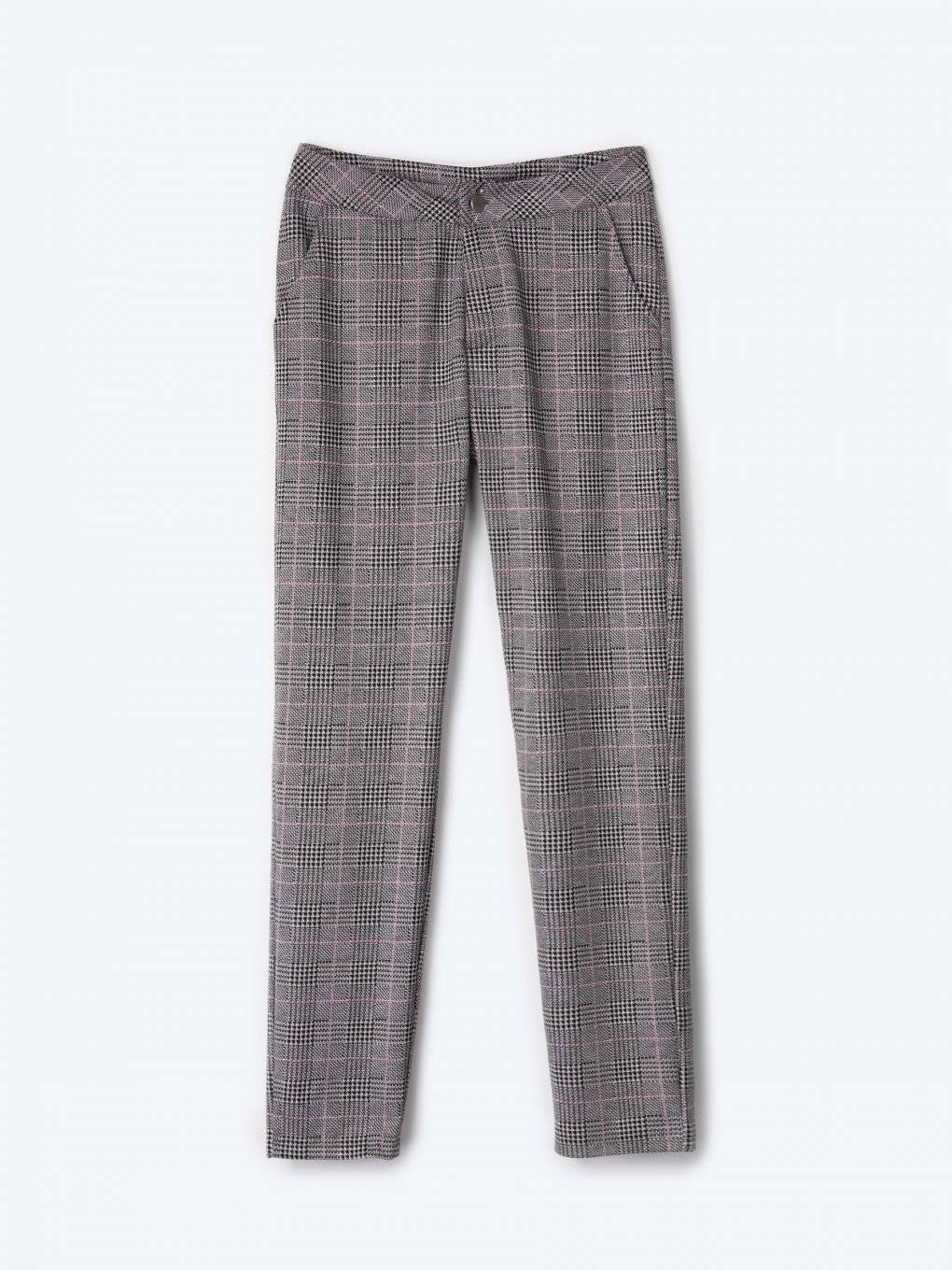Straight slim fit plaid trousers