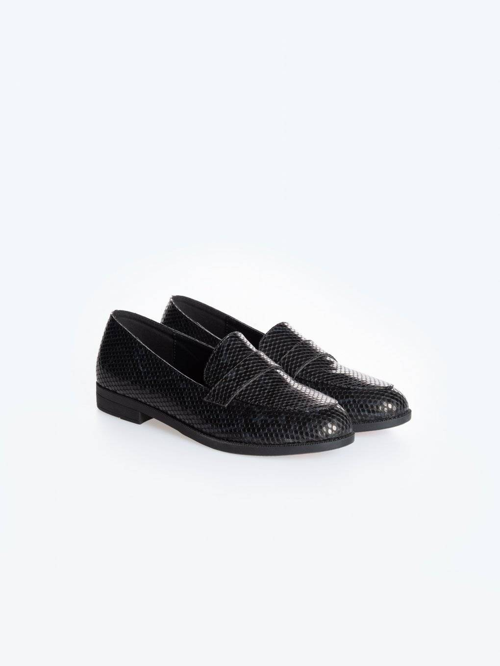 Faux snake skin loafers