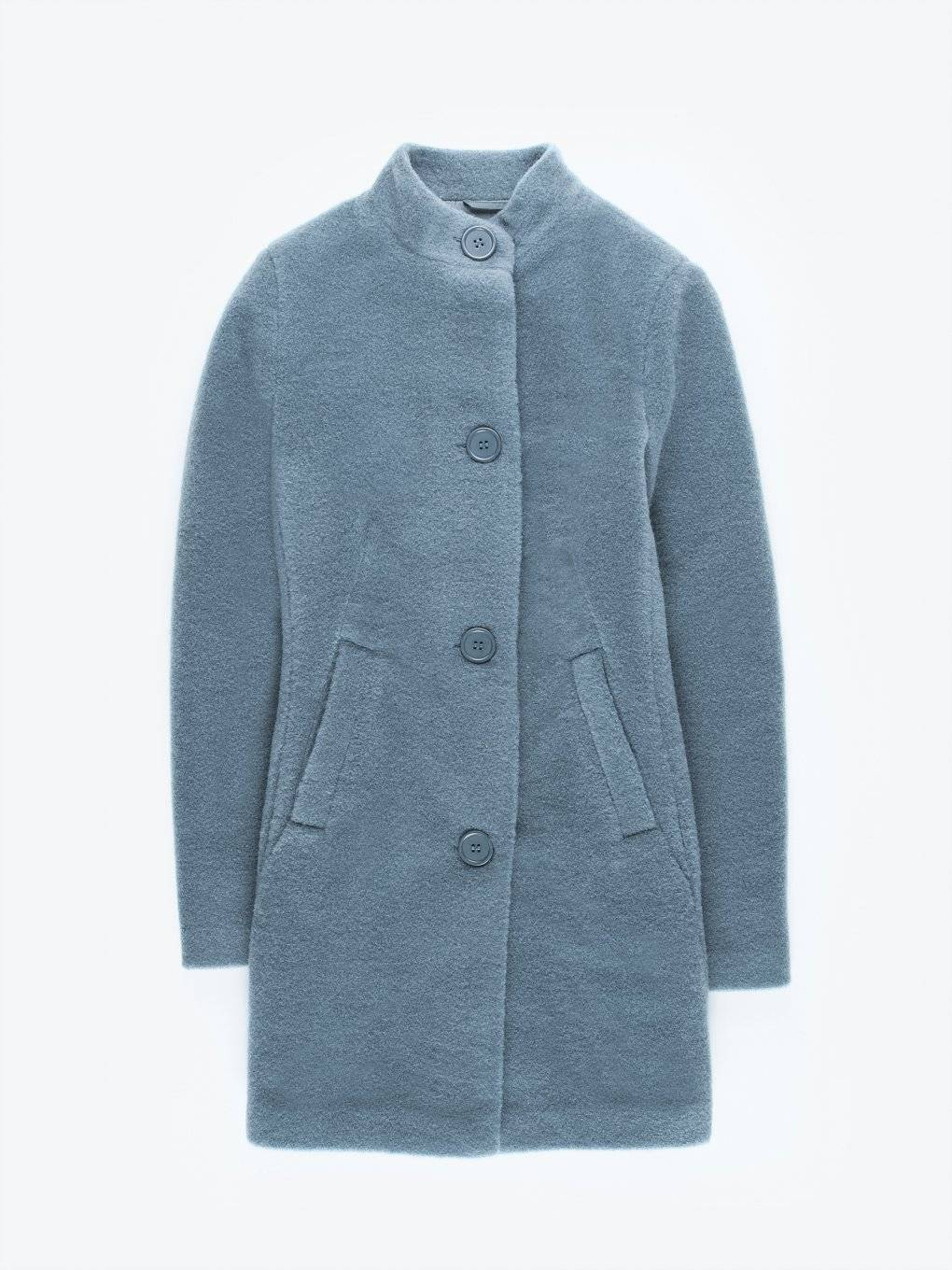 Plain coat with high collar