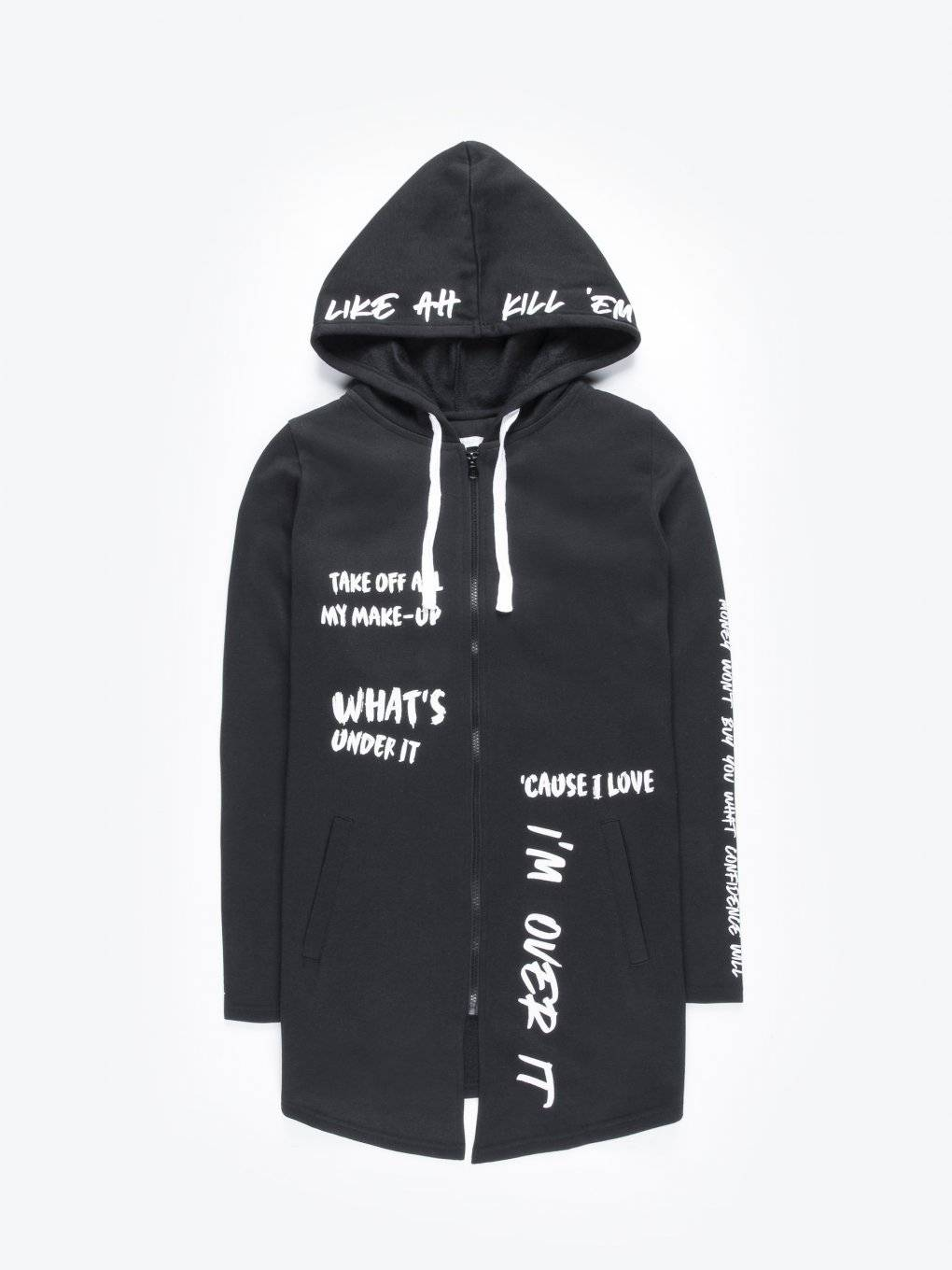 Longline zip-up hoodie with message print