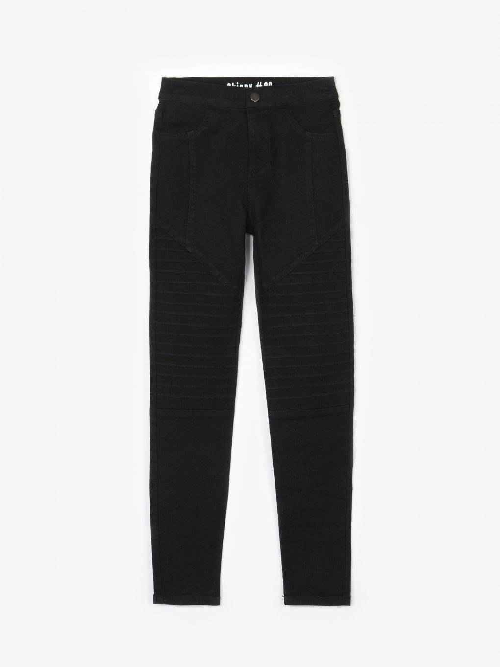 High waisted elastic biker trousers