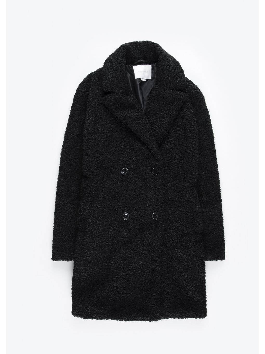Faux shearling double breasted coat