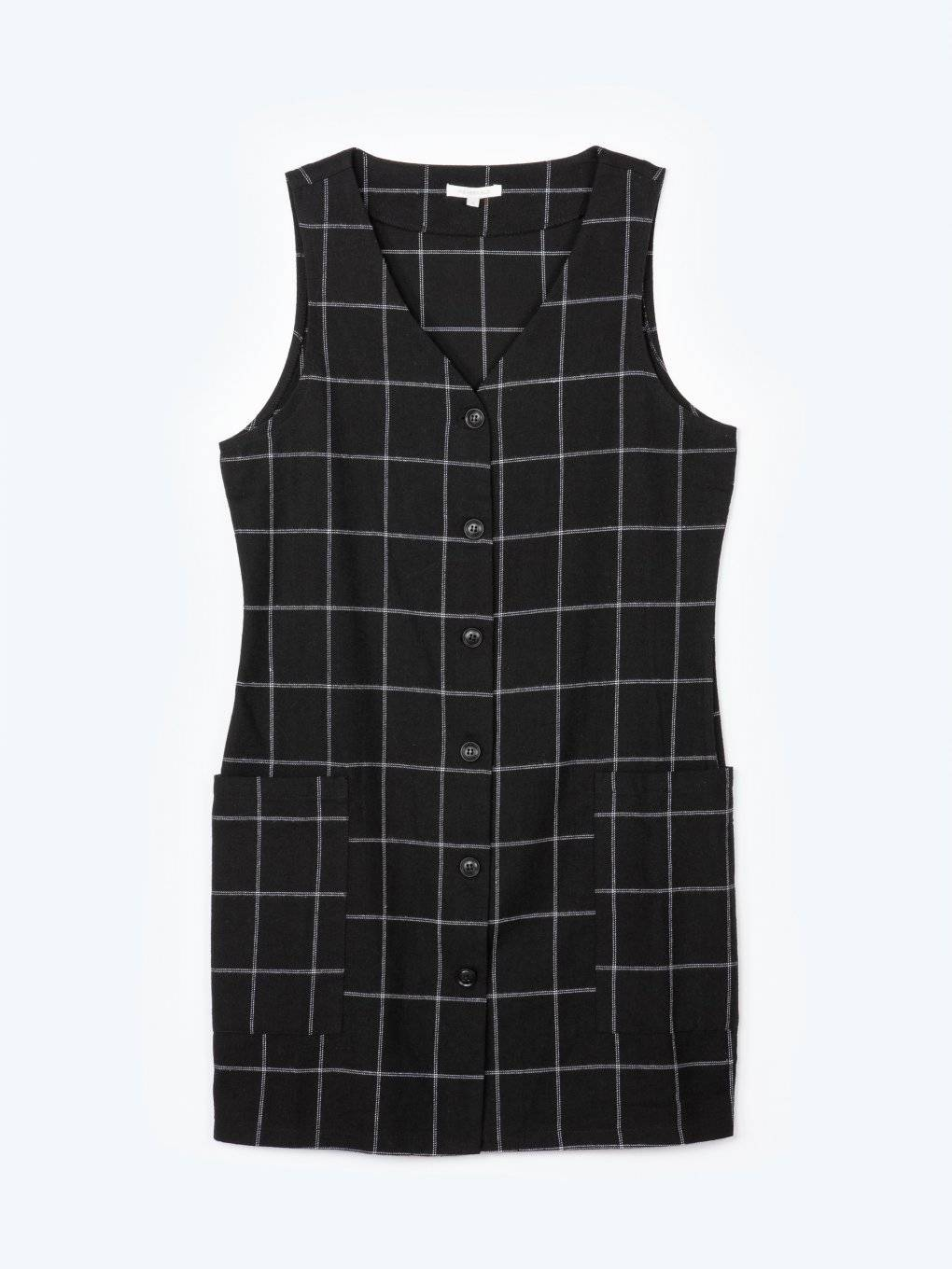 Plaid button down sleeveless dress