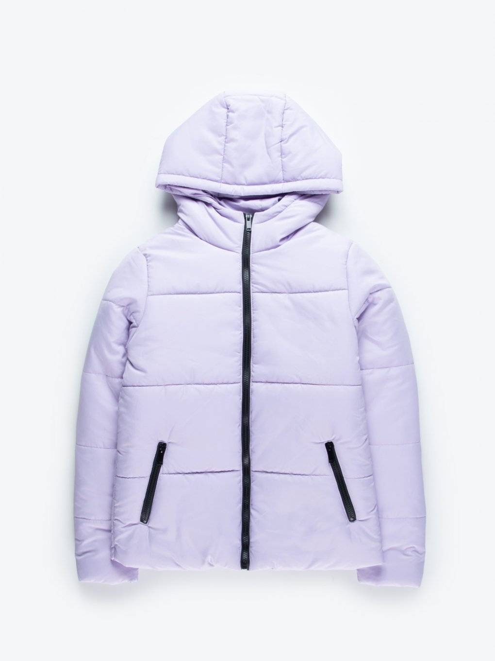 Plain puffer jacket with hood