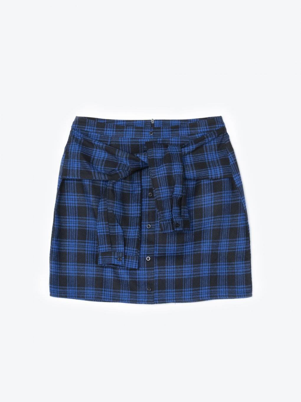 Plaid button down skirt with faux sleeve knot